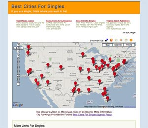 Image of Best Cities For Singles Map