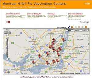 Image of Montreal Vaccination Centers map