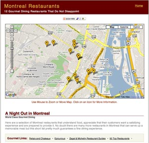 Image of Montreal Gourmet Restaurants Map